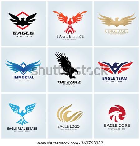 Animal logo collection,Eagle Logo set,bird logo,Phoenix logo,Vector Logo template - stock vector