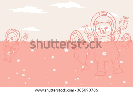animal lose home because global warming .help me please - stock vector