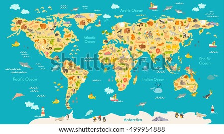 Animal map kid world vector poster vectores en stock 499954888 animal map for kid world vector poster for children cute illustrated preschool cartoon gumiabroncs Image collections