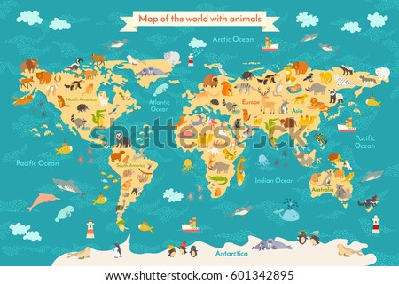 Superb Animal Map For Kid. World Vector Poster For Children, Cute Illustrated.  Preschool Cartoon