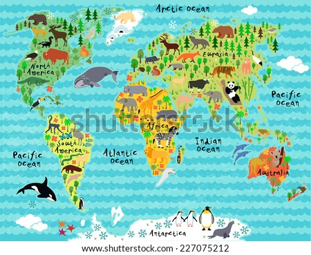 Animal map of the world with waves for children and kids - stock vector