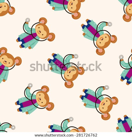 animal monkey doctor cartoon , cartoon seamless pattern background - stock vector