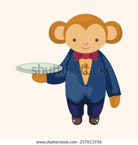 animal monkey waiter cartoon theme elements - stock vector