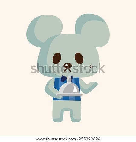 animal mouse waiter cartoon theme elements - stock vector