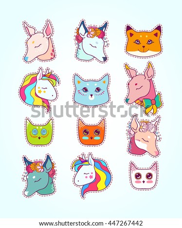 Animal patches set, colorful magic and friendship collection. Doodle stickers with deer in flowers and bow, cats, fox, owl, baby unicorn, ... Hand drawn vector illustration. - stock vector