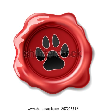 Animal Paw Print on the Wax Seal. Icon. Vector. Illustration. - stock vector