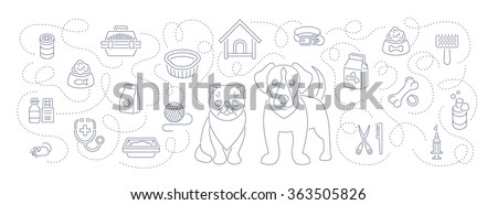Animal pets grooming and health care flat thin line vector horizontal  header banner. Background with linear icons of cat and dog, food, toys and accessories. Pet shop, vet clinic concept - stock vector