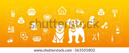Animal pets grooming and health care vector flat horizontal header banner. Background with silhouettes icons of cat and dog, food, toys and accessories. Pet shop, vet clinic concept - stock vector