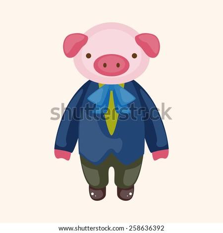 animal pig waiter cartoon theme elements - stock vector