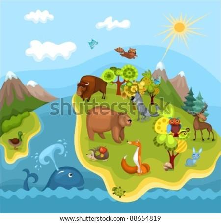 animal planet - stock vector
