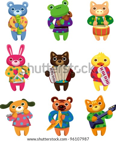 animal play music - stock vector