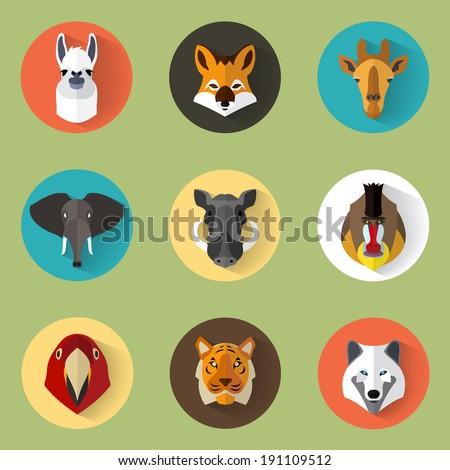 Animal Portrait Set with Flat Design / Vector Illustration - stock vector