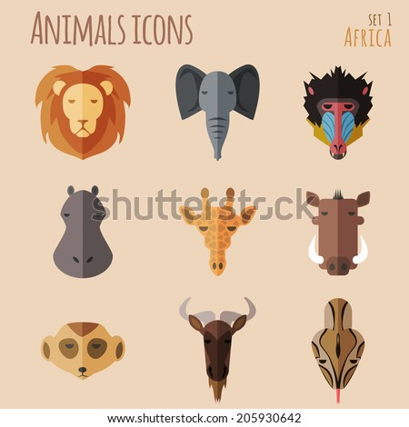 Animal Portrait Set with Flat Design. Vector Illustration - stock vector