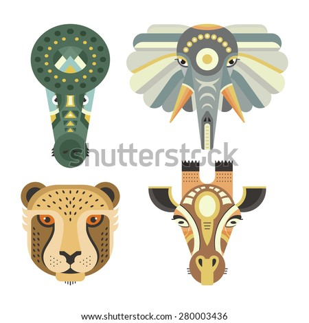 Animal portraits made in unique geometrical flat style. Vector heads of crocodile, elephant, cheetah, giraffe. Isolated icons for your design.   - stock vector