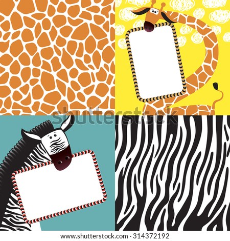 Animal print, zebra and giraffe texture background. Elements of greeting card. Vector - stock vector