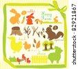 animal scrapbook set - stock vector