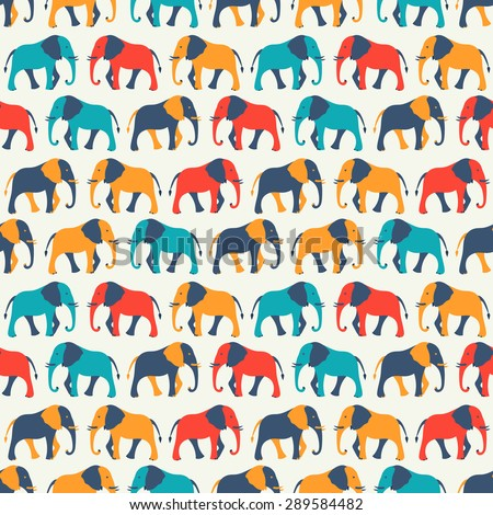 Animal seamless retro vector pattern of elephant silhouettes. Endless texture can be used for printing onto fabric, web page background and paper or invitation. White, blue, red and yellow colors. - stock vector