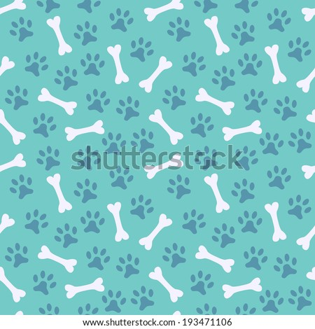 Animal seamless vector pattern of paw footprint and bone. Endless texture can be used for printing onto fabric, web page background and paper or invitation. Dog style. White and blue colors. - stock vector