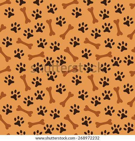 Animal seamless vector pattern of paw footprint and bone. Endless texture can be used for printing onto fabric, web page background and paper or invitation. Dog style. Black and orange colors. - stock vector