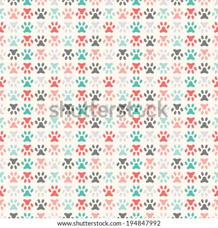Animal seamless vector pattern of paw footprint. Endless texture can be used for printing onto fabric, web page background and paper or invitation. Polka dog style. Colorful. - stock vector