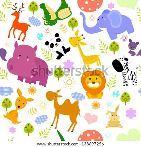 animal seamless wallpaper - stock vector