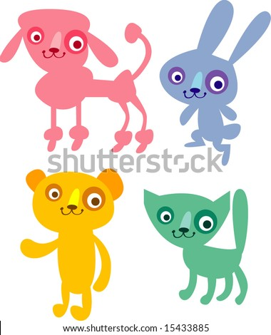 animal set 20: dog, rabbit, bear, cat - stock vector