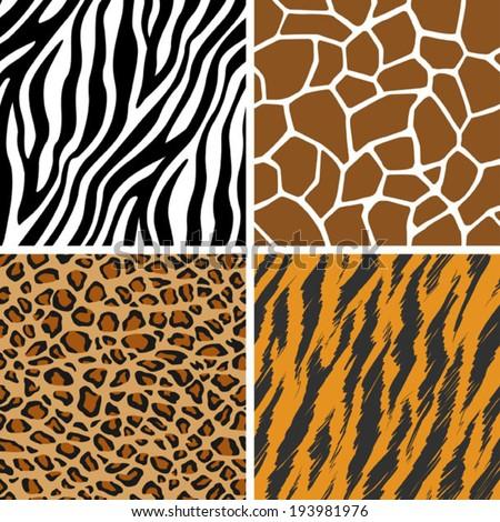 Animal Set - Giraffe, Leopard, Tiger, Zebra Seamless Pattern - stock vector
