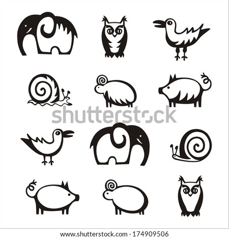 animal set icon vector illustration on white background - stock vector