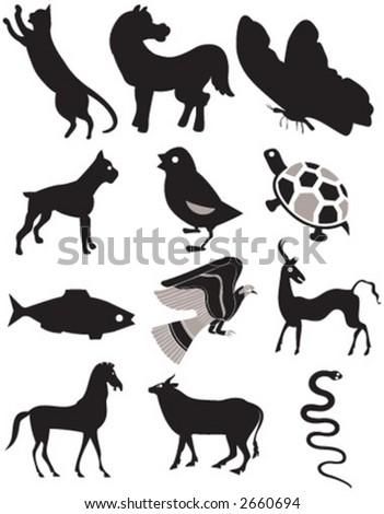 animal set, vector - stock vector