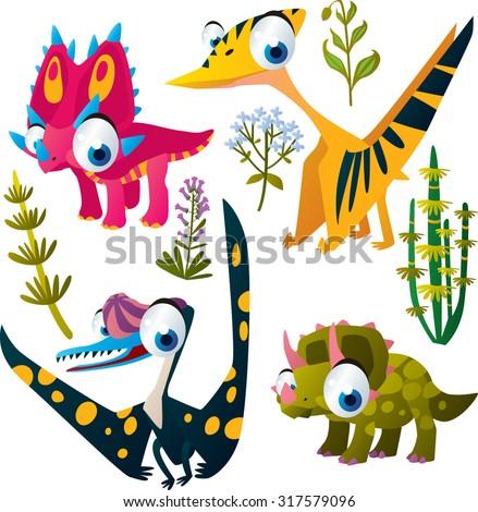 Animal set: vector cute comic dinos: styracosaurus, pterosaurus, pteranodon, triceratops - stock vector