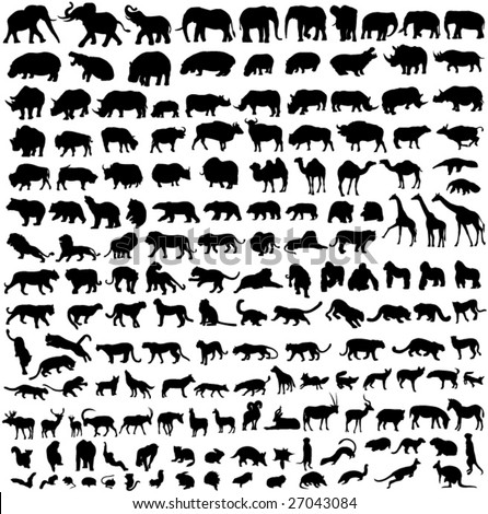 Animal silhouette contour - stock vector