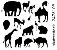 animal silhouettes - stock