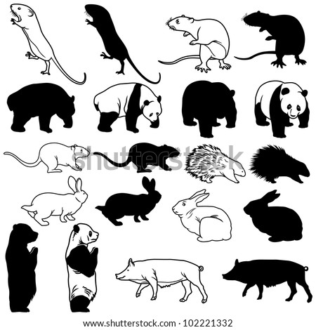 Animal Silhouettes on white background. - stock vector