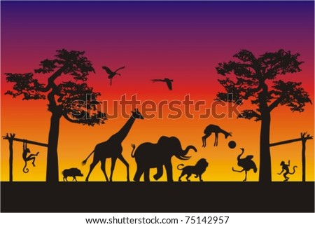 Animal Soccer Match in Africa. Wild animals are having fun playing soccer on a warm evening in the african savannah. - stock vector