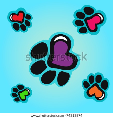 Animal tracks with hearts seamless background - stock vector