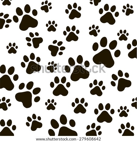 Animal  vector pattern of paw footprint . texture can be used for printing onto fabric, web page background and paper or invitation. Dog style. Black and white colors. - stock vector