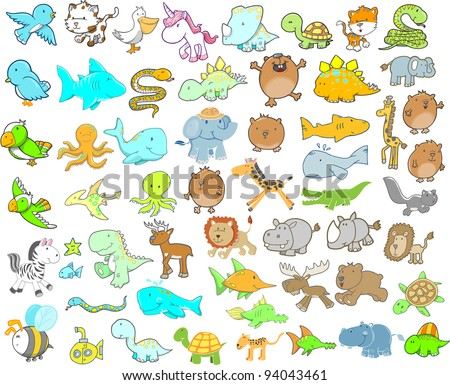 Animal Wildlife Safari Vector Illustration  Design Elements Set