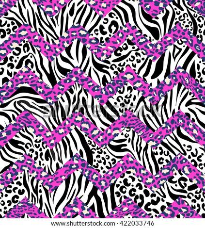 animal zebra and leo mix zigzag ~ seamless background - stock vector