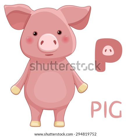 Animals ABC, letter P, Pig