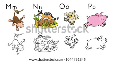 Animals Alphabet Coloring Book Letters M Stock Vector 1044761845 ...