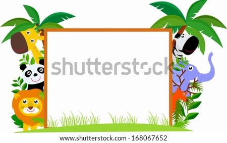 Animals and banner - stock vector