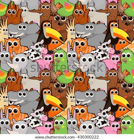animals and birds pattern , a parrot , a rooster , a toucan , pig , elephant, rhino , cat, dog , cow, horse , goat , rabbit , fox , squirrel, vector graphics