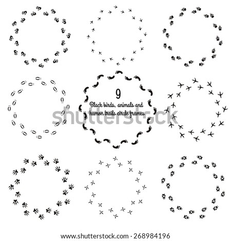 Animals and birds paw prints round frame for your text background, vector - stock vector