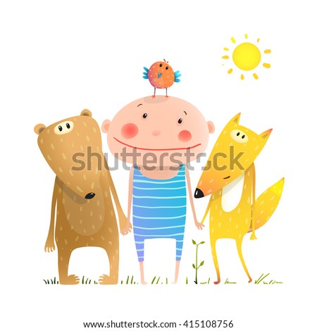Animals and child friends fox bear bird kid childish funny in nature cartoon. Kids smiling cute friendship brightly colored cartoon, vector illustration.