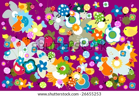 animals and flowers - stock vector