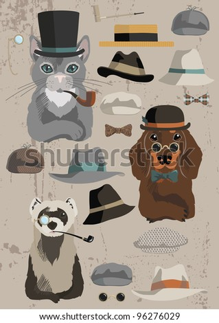Animals and old hats' set - stock vector