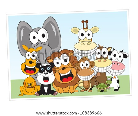 animals are happy with the togetherness - stock vector