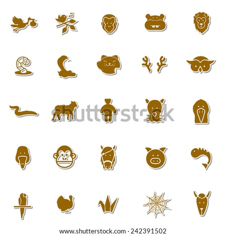Animals Art icon set 5 - stock vector