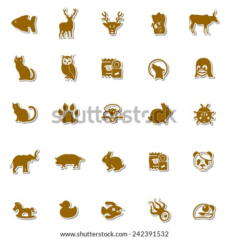 Animals Art icon set 6 - stock vector