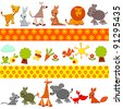 animals background. set of bright colored animals. Vector illustration. - stock photo